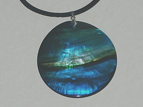 Medium Blue Landscape Oyster Shell Pendant