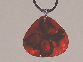 Medium Red Teardrop Oyster Shell Pendant