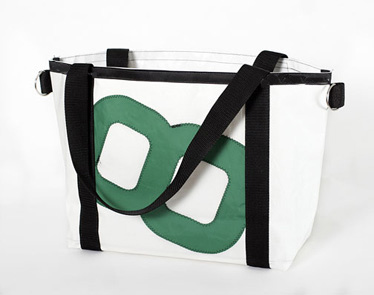 Ella Vickers Large Open Tote White - Green Number