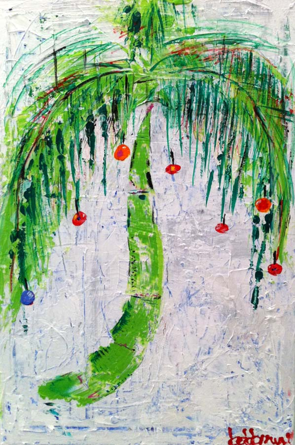 Abstract Christmas Palm painting by Bob Brown
