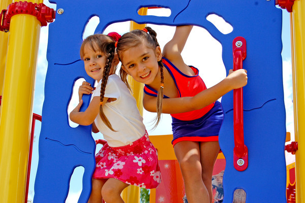 Little girls playing at Sarasota's Circus Playground at Payne Park